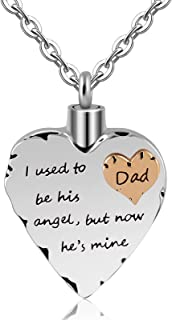 Meice i Used to be his Angel Now He's Mine Unisex Memorial Keepsake Cremation Pendant ash urns Necklace
