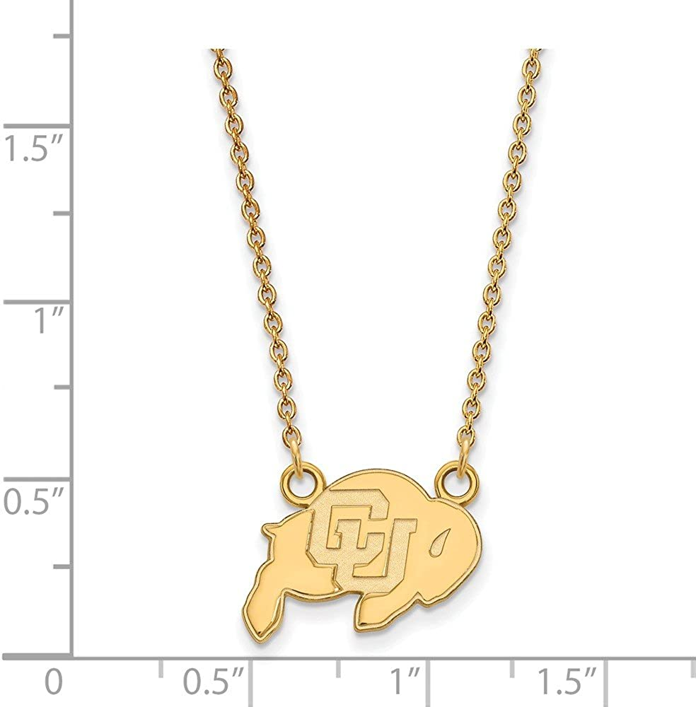 Width = 17mm 925 Sterling Silver Yellow Gold-Plated Official University of Colorado Small Pendant Charm Necklace
