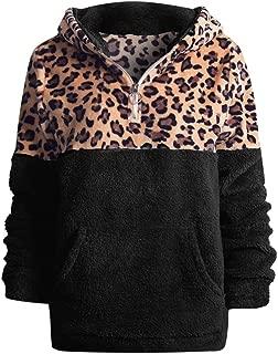 Women's Hoodies Plush Sweatshirt Lapel Warm Sweater Leopard Pullover Half Zip Hooded Faux Fleece Pullover Winter