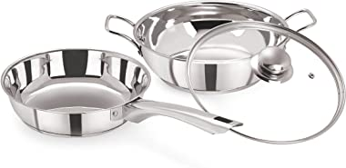 Pristine Induction Compatible Stainless Steel Sandwich Base Cookware Set, Fry Pan & Kadai with Glass Lid 22 cm / 2Ltrs, 3