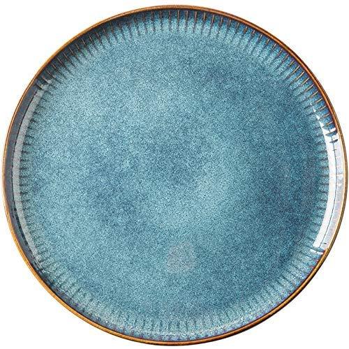 Mzxun Cena conjunto nórdico Estilo horno de cerámica vidriada Placa recipiente redondo Vajilla (Tamaño: 8,5 pulgadas Plate)