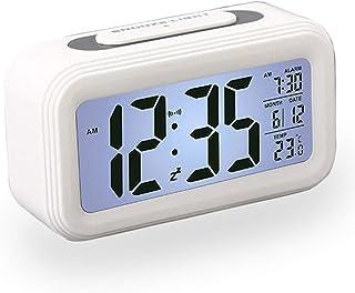Reloj Despertador LCD Digital, Multi-Funciones Alarma Inteligente Muestra Hora, Temperatura, Fecha Silencioso como Regalo Creativo para los Viejos Niños Dormitorio Oficina (Blanco)