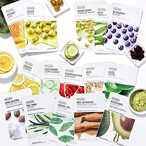The Face Shop Facial Mask Sheets (15 Treatments), Real Nature Full Face Masks Peel Off Disposable Sheet (Pack of 15), Anti Aging Firming Moisturizing Essence