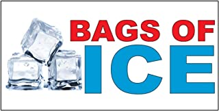 Bags of Ice Red Blue Food Bar Restaurant Food Truck Decal Sticker Retail Store Sign 4.5 X 12 Inches