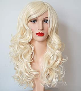 Wigbuy Blonde Hair Wigs Wavy Curly 24inches Synthetic Heat resistant Costume party wigs for Women (613)
