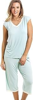 Conjunto de Pijama con Camiseta sin Mangas y pantalón Pirata - Verde Menta