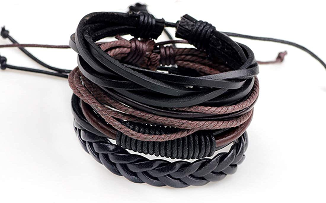 TATRIZ Bracelet for Mens,Women& Boys, 4PCS Set Handmade Braided Leather Bracelet Unisex Women Men Cuff Bangle Adjustable Wristband Wrap,Couples Bracelets for Men Mens Jewelry Gifts Boyfriend dad.