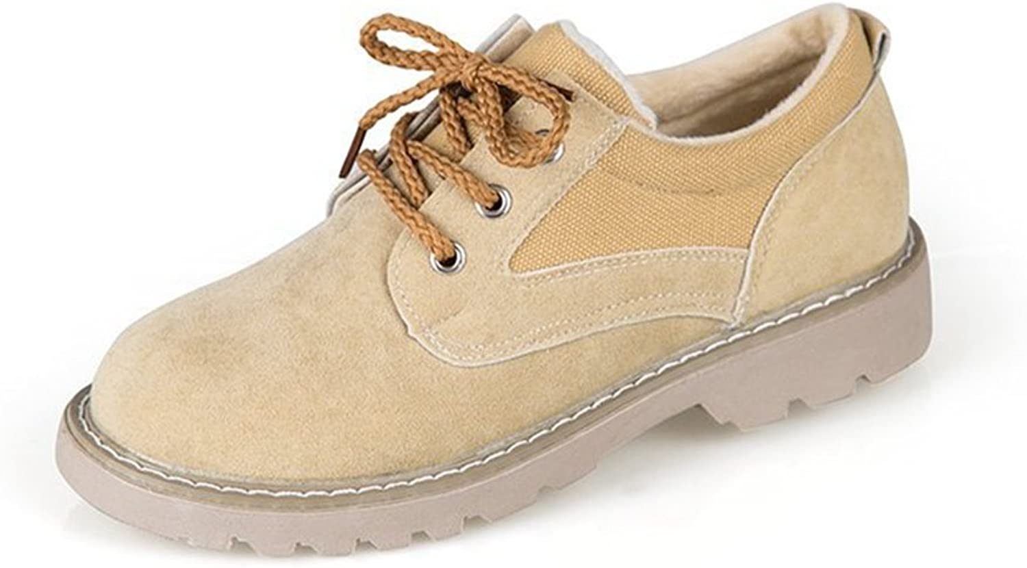 T-JULY Women's Classic Oxfords shoes - Comfortable Lace-up Low Wedge Round Toe Mubuck shoes