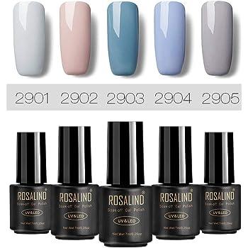 ROSALIND Gris Esmaltes de gel de uñas, 5 Pack * 7ml semipermanentes nail gel polish salón Set: Amazon.es: Belleza