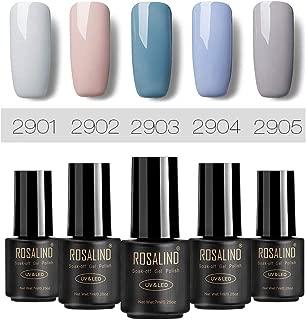 ROSALIND Gris Esmaltes de gel de uñas, 5 Pack * 7ml semipermanentes nail gel polish salón Set