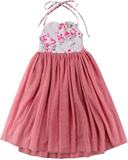 Fairy Baby Girls Special Occasion Princess Dress Toddler Tutu Halter Floral Beach Sundress