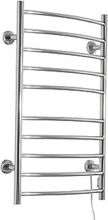 HomCom 10-Bar Curved Stainless Steel Wall Mounted Heated Towel Warmer Rack