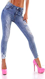 OSAB-Fashion 4640 Women's Jeans Trousers Tube Skinny Jeans Stretch Denim Destroyed Cut-Outs Lace