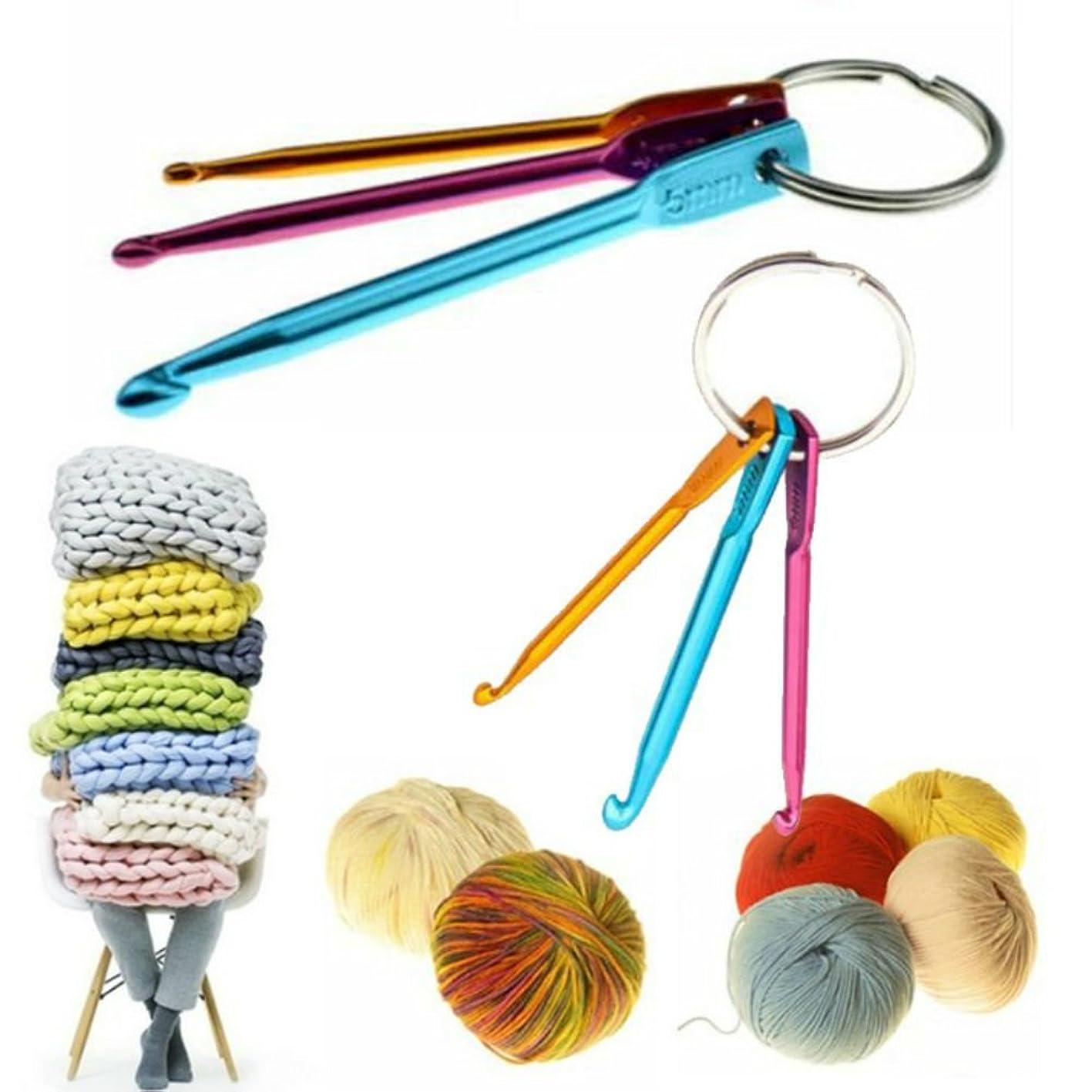 AKOAK 2 Set 6 Pieces Mini Keychain Aluminum Crochet Hooks Sweater Knitting Needles Tool(3mm&4mm&5mm) euqwjbfngnh139