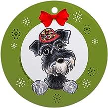 Xmas Decorative Hanging Ornament for Christmas Tree, Porcelain - Miniature Schnauzer Lover Christmas Ornament Round Holiday Christmas Ornament
