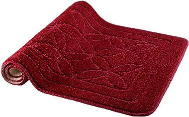 HOMEVER Bath Mats Rugs Set 2 Piece Burgundy Bathroom mats for Toilet, Machine Washable Bathroom Rug with Fashion Pattern, Non