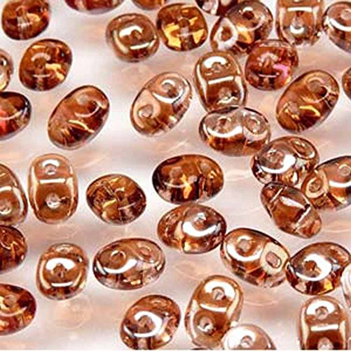 Rosaline Celsian SuperDuo Czech Two Hole Seed Beads 2.5x5mm Approx 20 Grams
