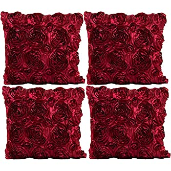 JOTOM Throw Pillow Covers for Sofa Bed Cushion,3D Solid Color Silks Satins Rose Flower Romantic Love Cushion Covers for Wedding Party Home Decor Set of 4,16 x 16  Rose Wine Red