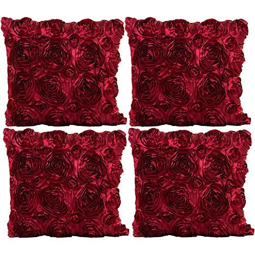 JOTOM Fodera per Cuscino Seta Satinata Colore Solido Rose Federa per Divano Famiglia Soggiorno Camera da Letto Decorazione, 40x40cm, Set di 4 Pezzi(Rose|Vino Rosso)