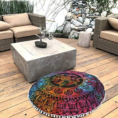 FashionShopmart Ottoman, Pouf Cover, Round Cushion Cover Floor Cushion Cover, Yoga Mat, Floor Decoration Ottoman, Floor Cushion Case- 32