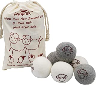 Ayaprak 6-Pack Wool Dryer Balls for Dryer Reusable Natural Fabric Softener 100% Organic Chemical Free Baby Safe (Gray+White)