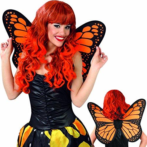 NET TOYS Schmetterlingsflügel Feenflügel schwarz-orange Elfenflügel Schmetterling Flügel Fee Feenkostüm Accessoire Elfenkostüm Zubehör