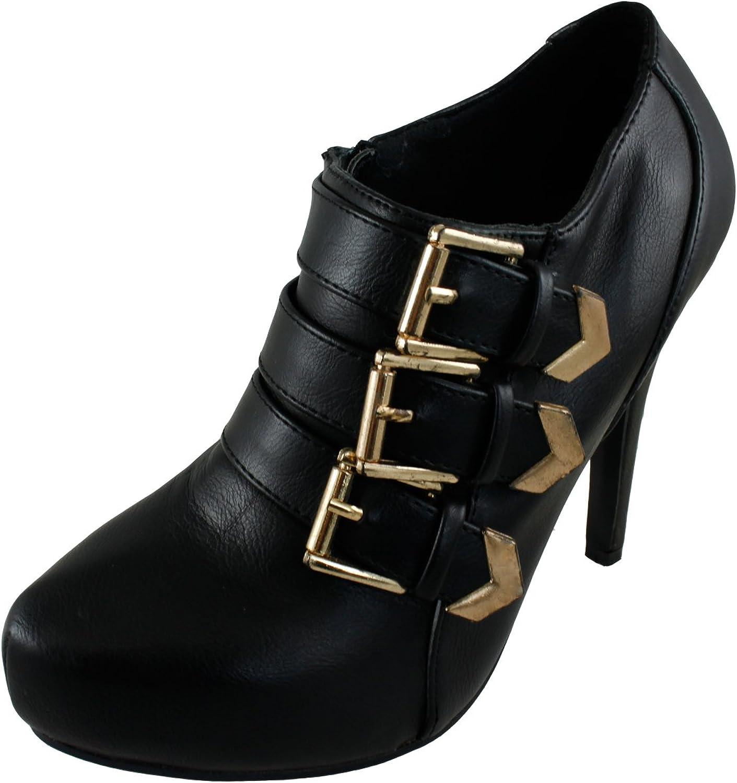 Cambridge Select Women's Strappy Buckle Platform Stiletto Heel Ankle Bootie