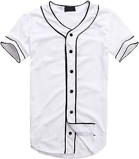 Mens Hipster Hip Hop Button-Down Baseball Jersey Short Sleeve Shirt