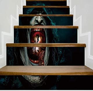 ajhsuwn New Halloween Stairs Stickers Life and Death Escape Shopping Mall Office Atmosphere Can Be Removed Self-Adhesive Stair Stickers 100X18Cmx6Pcs