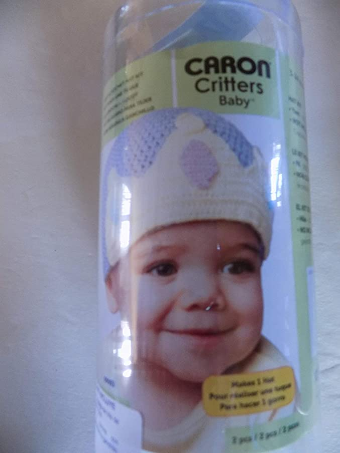 Caron Critters baby crown crochet/knit blue hat kit