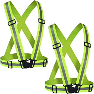 Reflective Vest (2 Pack) Lightweight,Adjustable & Elastic Safety & High Visibility for Running Jogging, Walking,Cycling Fits Over Outdoor Clothing - Motorcycle Jacket Outdoor Gear (Green)