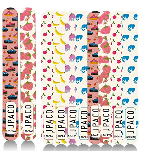 Nail Files 120 240 Grit for Poly Nail Extension Gel Acrylic Nails Files Double Sided Colorful Washable Professional Nail File Set Manicure Tools (12 PACK, 6 Cute Girly Designs) by JPACO
