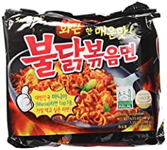 Samyang Spicy Fried Chicken Ramen Buldalk Bokkeummyeon Sapghetti Style Noodle in Unique Really Spicy Sauce (4404 SHU) Ready in 4-5 minutes, Boil the noodle first and Mix with sauce 0g Trans Fat