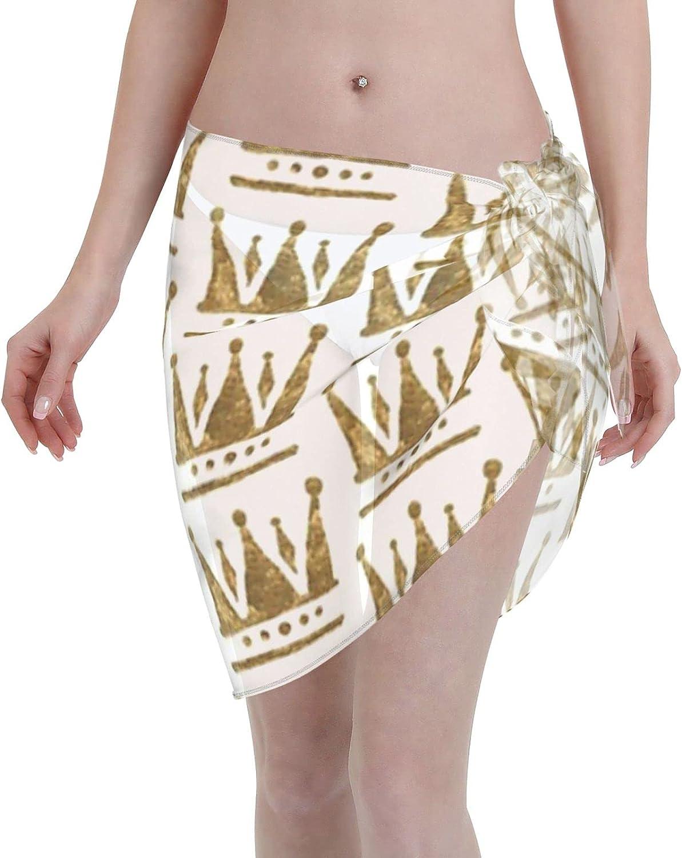 2053 pants Gold Crown Drawing Women Chiffon Beach Cover ups Beach Swimsuit Wrap Skirt wrap Bathing Suits for Women