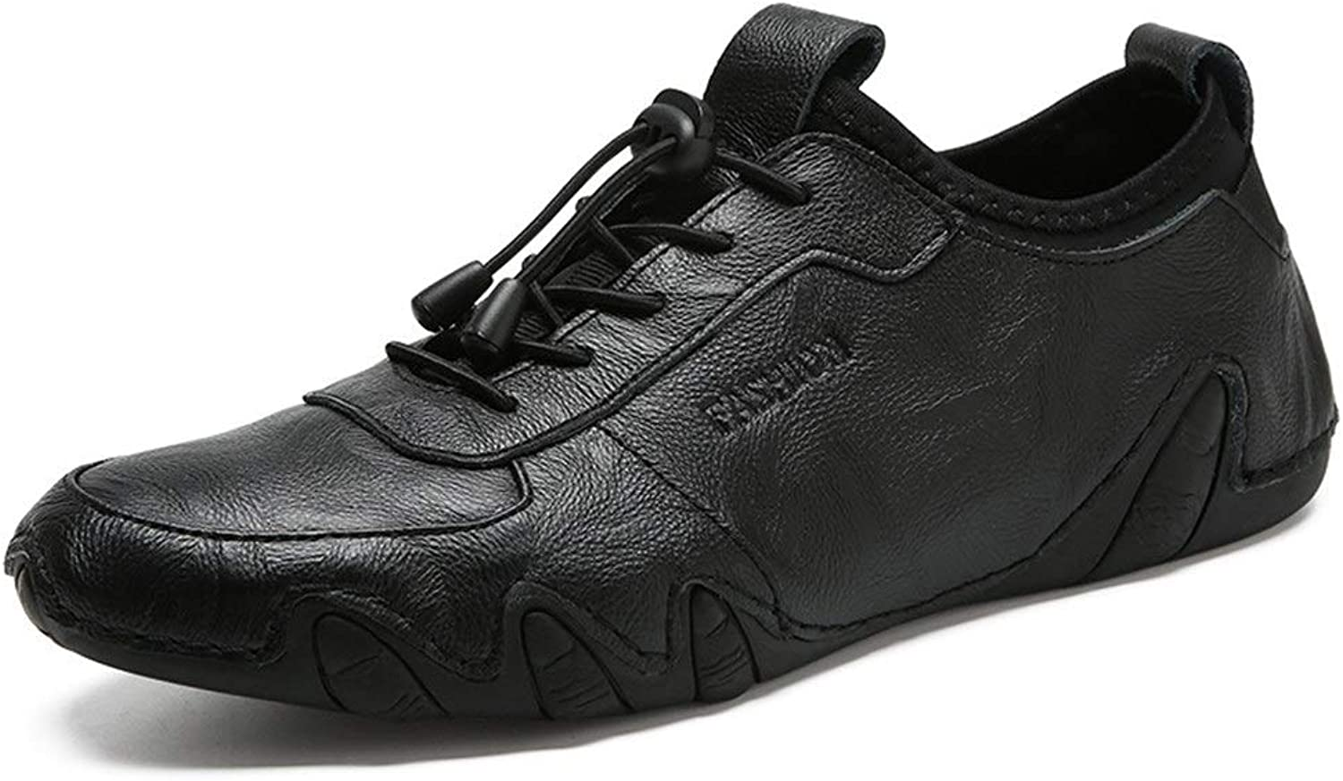 MUWU Leisure skor for for for Mans gående skor with Elastisk Lock Shoakes Casual Slip On Round Toe läder Övre  snabb leverans