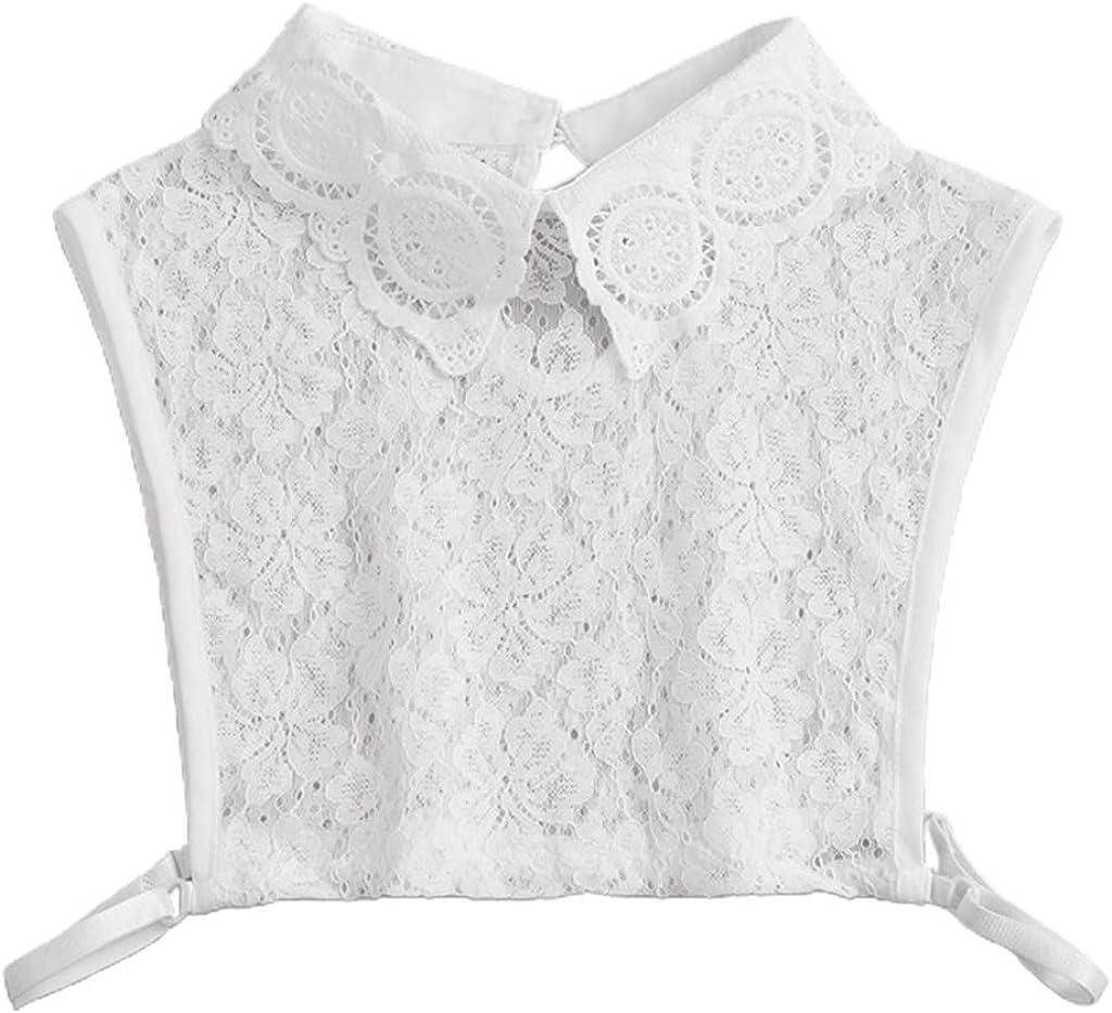 YOUSIKE Detachable Blouse, Womens Sweater Decorative False Fake Collar Hollow Out Floral Lace Detachable Pullover Lapel Half Shirt Blouse Adjustable Sleeveless Crop Top Vest