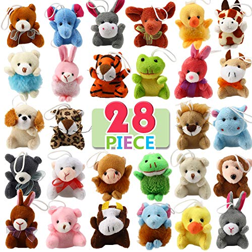 🐶MATERIAL SEGURO🐶 Este set de peluche animal está hecho de algodón superior, que suave y seguro, y se ha realizado inspecciones estrictas, muy cómodo y saludable para los niños. 🐻PAQUETE DE VALOR🐻 El paquete de valor contiene un total de 28 mini pelu...