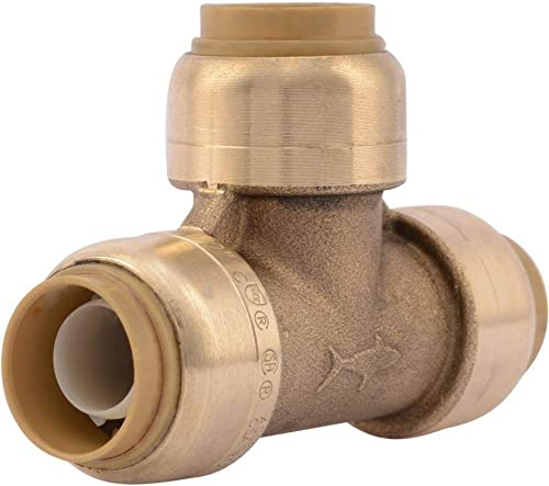 SharkBite U362LFA Tee Plumbing Pipe Connector 1/2 In, PEX Fittings, Push-to-Connect, Copper, CPVC, 1/2-Inch by 1/2-In...