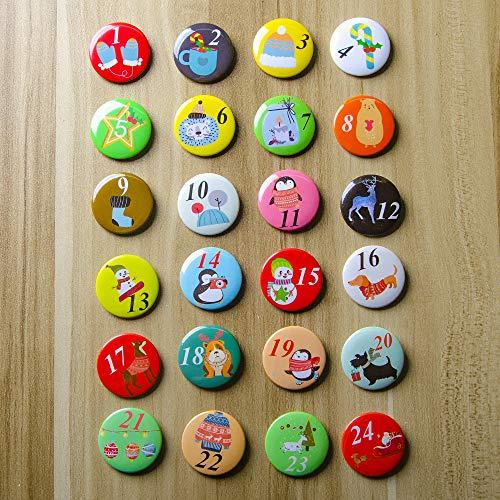 HunDun 24 Adventskalender Zahlen Buttons: Bunte, nummerierte Anstecker (Ø 32mm) zum Basteln von DIY-Weihnachts-Kalendern