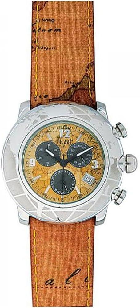 Alviero martini, orologio da uomo, cassa in acciaio 316l, cinturino in pelle geo classic PCH781B-CU