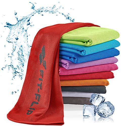 Fit-Flip Kühlendes Handtuch 120x35cm, Mikrofaser Sporthandtuch kühlend, Kühltuch, Cooling Towel, Mikrofaser Handtuch, Farbe: rot, Größe: 120x35cm