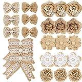 Meetory - Set di 24 fiocchi di iuta e fiori di iuta, 8 stili naturali, fatti a mano, in tela rustica, per fai da te, artigianato, matrimoni, Natale, feste, decorazioni regalo
