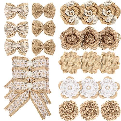 Meetory Juego de 24 lazos de arpillera y arpillera, 8 estilos naturales hechos a mano rústica, flores de arpillera para manualidades, bodas, Navidad, fiestas, regalos