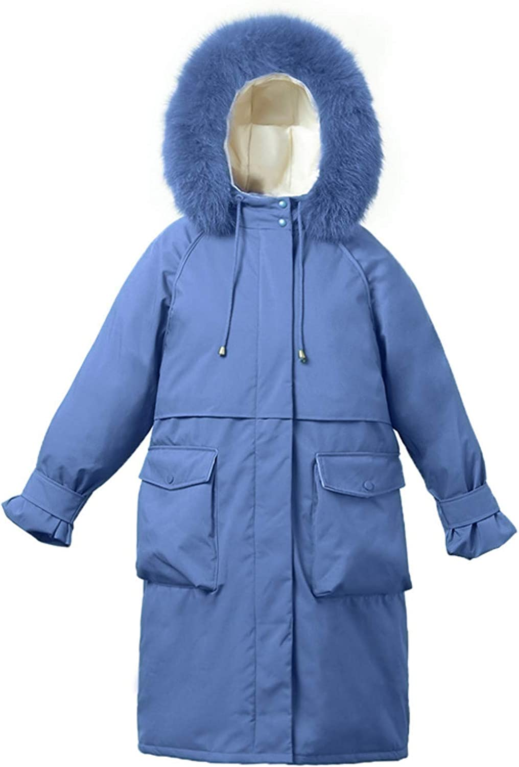 Ladies Lightweight Padding Jacket Women's Long Winter Down Jackets with Faux Fur Trim