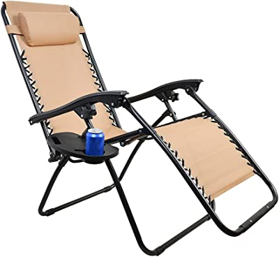 C-CHAIN Universal Zero Gravity Lounge Chair Side Cup Holder with Mobile Device Slot and Snack Tray, Camping Picnic Outdoor Beach Garden Fishing Chair Side Cup Holder