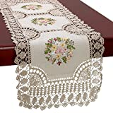 Grelucgo Small Handmade Beige Crochet Cotton Lace Table Runner Dresser Scarf, Ribbon Embroidery, Rectangle 16 x 45 Inches