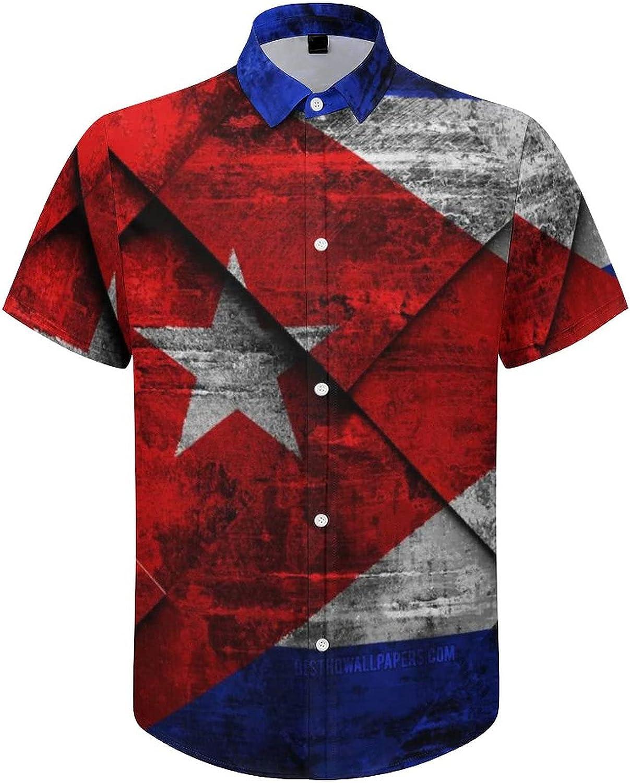 Men's Short Sleeve Button Down Shirt Flag of Cuba Summer Shirts