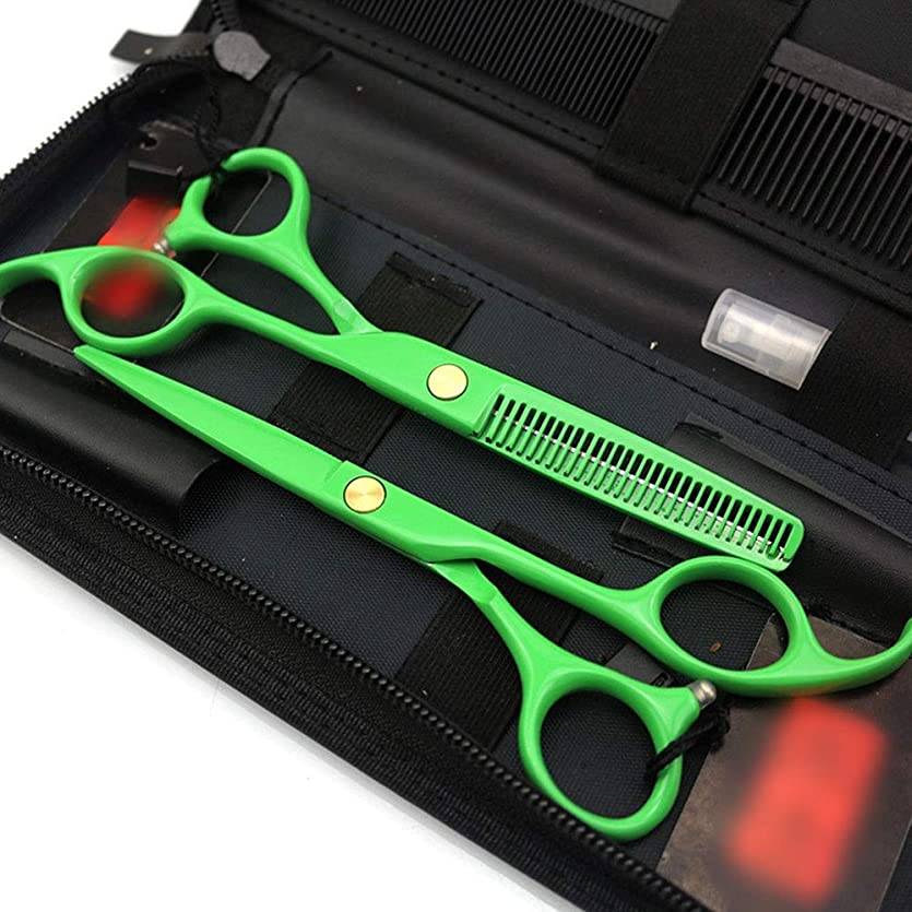 戸棚ブランドキャンドルHairdressing 5.5インチプロフェッショナル理髪はさみセット、電気メッキグリーンフラット+はさみセットヘアカットはさみステンレス理髪はさみ (色 : オレンジ)