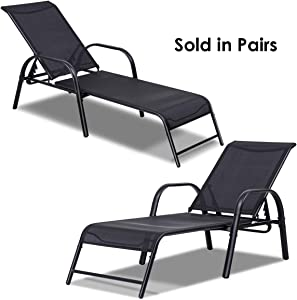 Giantex Outdoor Patio Chaise Lounge Chair, Adjustable Lounge Chairs Patio Seating Furniture, 5 Adjustable Positions, Backyard Lawn Sling Chaise for Beach Yard Pool (2)
