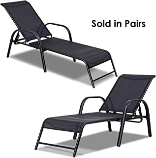 Giantex 2 Pcs Outdoor Patio Chaise, Adjustable Lounge Chairs Patio Furniture, Backyard Lawn Sling Chaise w/Adjustable Back, Beach Yard Pool Folding Recliners